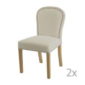 Zestaw 2 kremowych krzeseł z naturalnymi nogami Artelore Lauren