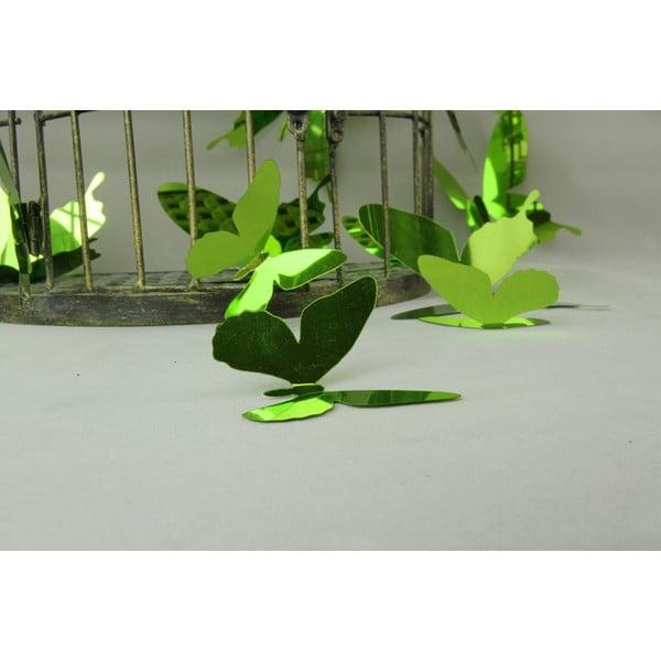 Zestaw 12 naklejek adhezyjnych 3D Fanastick Butterflies Green