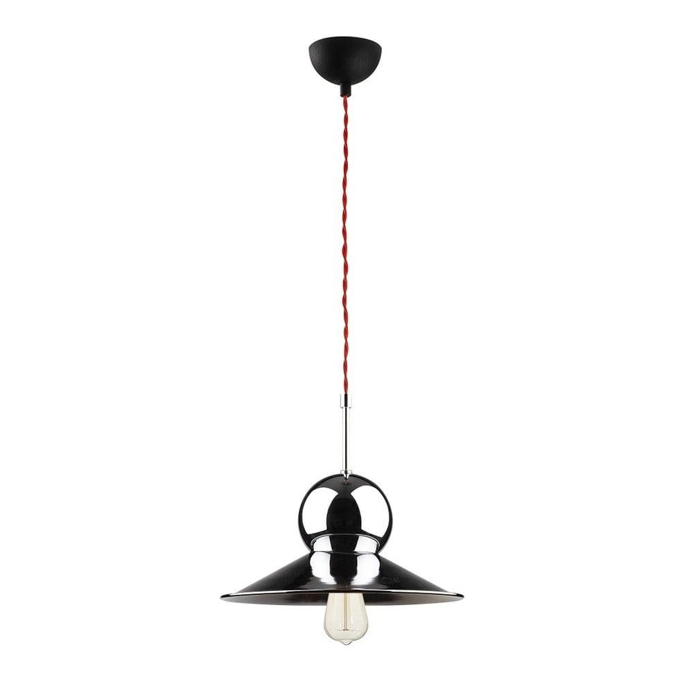 Czarna metalowa lampa wisząca w kolorze chromu Opviq lights Stathis