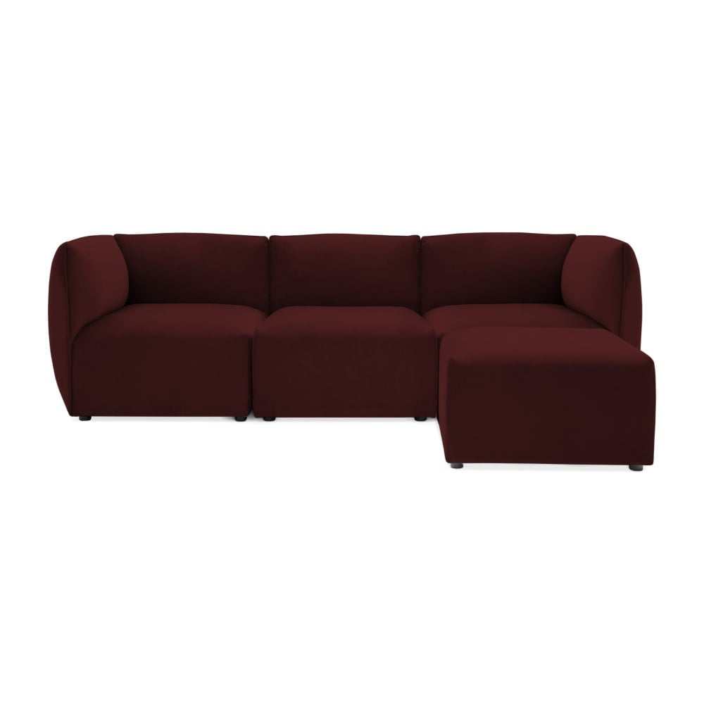 Bordowa 3-osobowa sofa modułowa z podnóżkiem Vivonita Velvet Cube