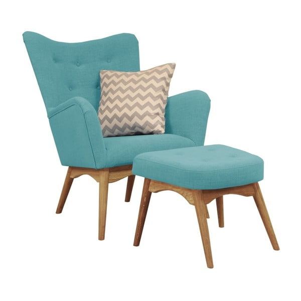 Turkusowy fotel z podnóżkiem Helga Interiors Karl