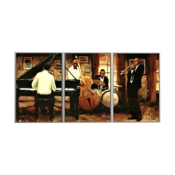 Trzyczęściowy obraz Music Night, 45x90 cm