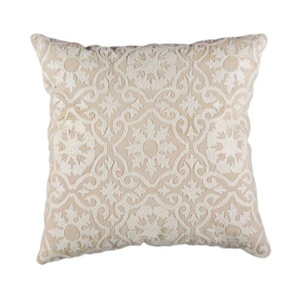 Poszewka na poduszkę, beżowa z białym ornamentem