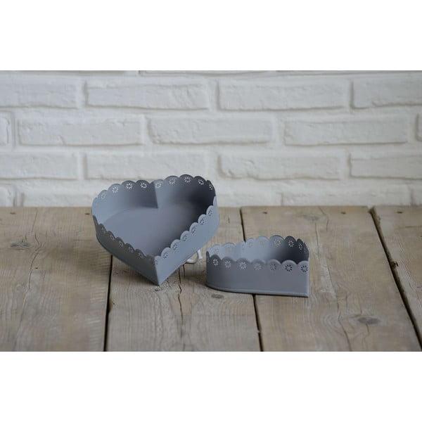 Komplet 2 misek w kształcie serca Grigio
