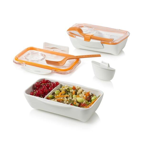 Biało-pomarańczowe pudełko na lunch Black + Blum Bento