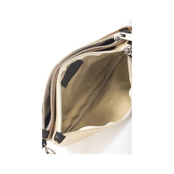 Skórzana torebka Krole Kody z 2 kieszonkami, beżowa