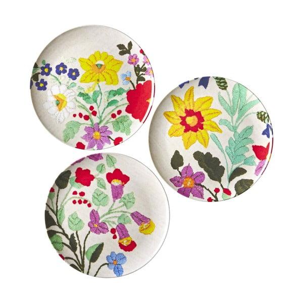 Zestaw 3 talerzy Embroidered Flower