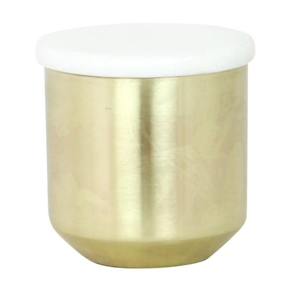 Pojemnik z marmurowym wieczkiem Brass Tall