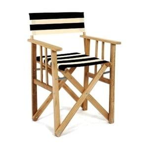 Składane krzesło Director, czarno-białe paski