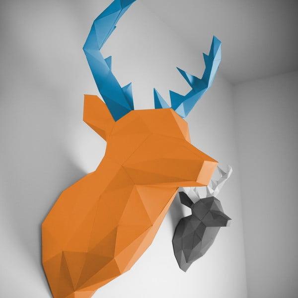 Papierowe poroże Jeleń XL, pomarańczowo-niebieskie
