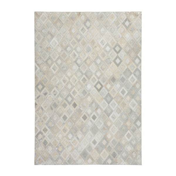 Szary skórzany dywan Dazzle, 80x150cm