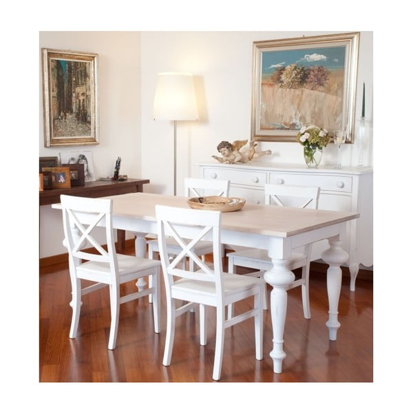 Biały stół rozkładany z drewna Castagnetti Adeline