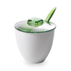 Zielonobiała cukierniczka z łyżeczką