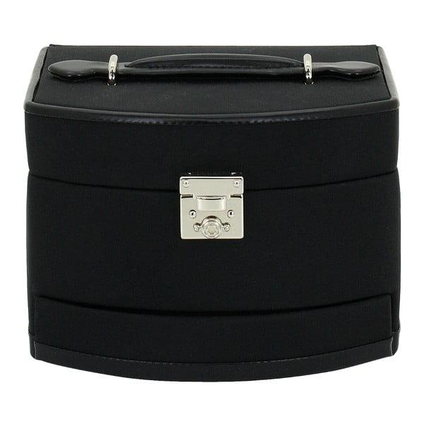 Czarny kuferek na biżuterię Friedrich Lederwaren Copenhagen, 16x14 cm