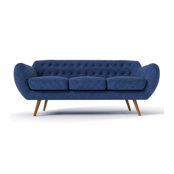 Trzyosobowa sofa Indigo, granatowa z błękitnymi guzikami