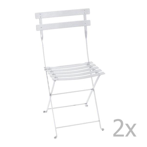 Zestaw 2 białych krzeseł składanych Fermob Bistro