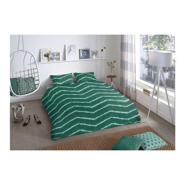 Ciemnozielona pościel jednoosobowa Good Morning Batik, 140x200 cm