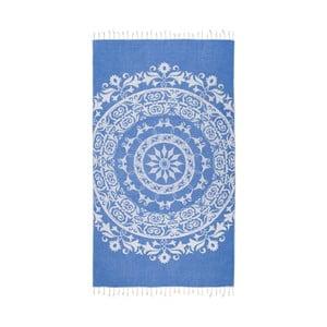 Niebieski ręcznik hammam Kate Louise Madalena, 165x100 cm
