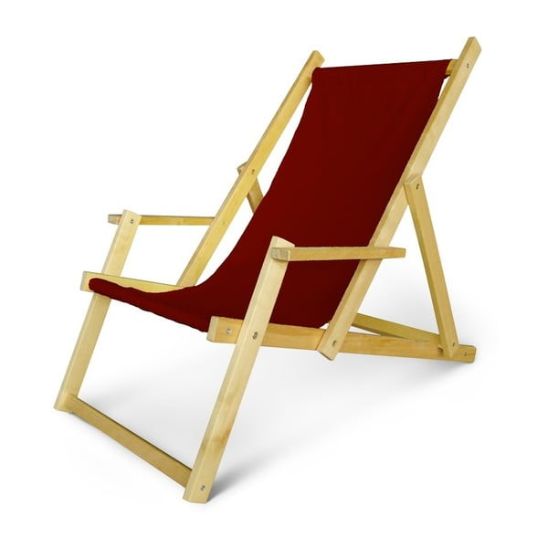 Regulowany leżak drewniany z podłokietnikami JustRest, bordowy