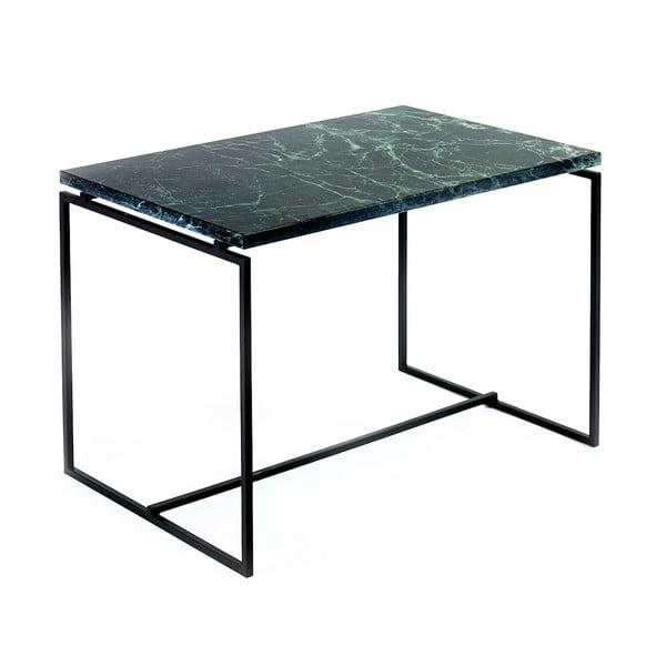 Zielony szeroki stolik z marmurowym blatem Serax Nero