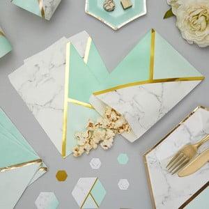 Zestaw 25 papierowych torebek Neviti Mint Colour Block Marble