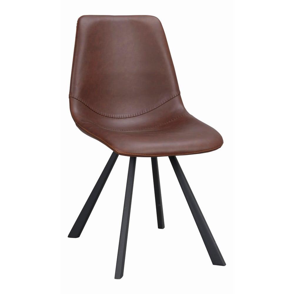 Brązowe krzesło do jadalni z czarnymi nogami Rowico Alpha