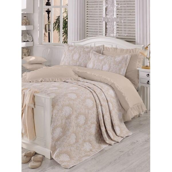 Zestaw 2 beżowych poduszek i prześcieradła na łóżko dwuosobowe Love Colors Parure Jazzy, 240 x 260 cm