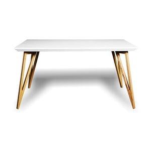 Stół z litego drewna jesionowego z białym blatem Charlie Pommier Triangle, 200x80cm