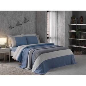 Pościel z prześcieradłem i narzutą Grey and Blue, 160x220 cm