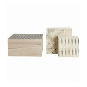 Komplet 3 drewnianych pojemników Geometry