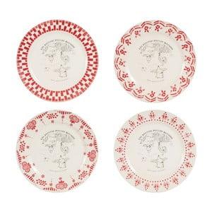 Zestaw 4 czerwono-białych talerzy deserowych Comptoir de Famille Galline, 21 cm