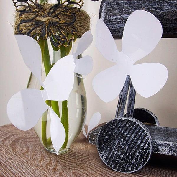 Zestaw  12 naklejek elektrostatycznych 3D Ambiance Flowers White
