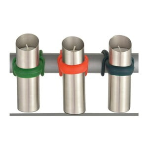 Zestaw 3 nierdzewnych świeczników na balustradę Esschert Design Happy