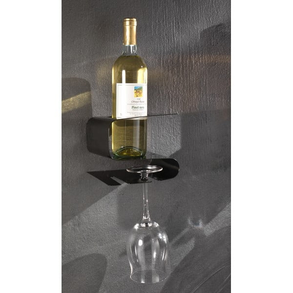 Czarna wisząca półka na wino i 2 kieliszki Osteria Black