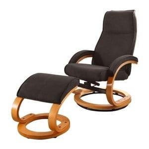 Brązowy fotel regulowany z podnóżkiem Støraa Rika