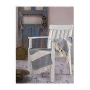 Biało-niebieski ręcznik kąpielowy Hammam Elmas, 100x180 cm