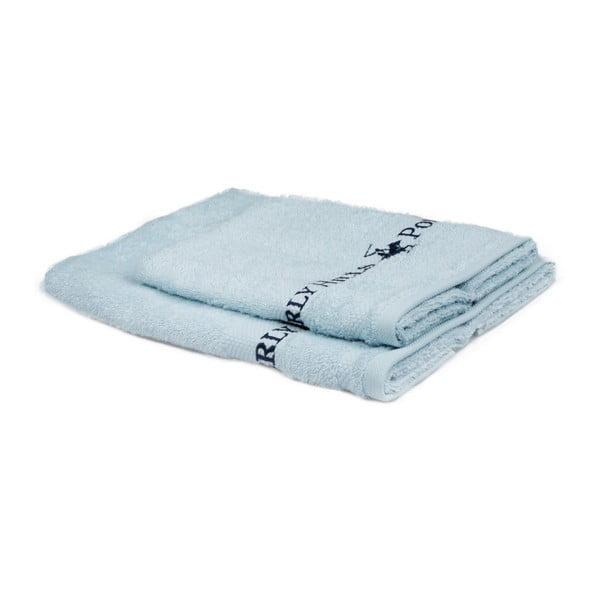 Zestaw 2 jasnoniebieskich ręczników Beverly Hills Polo Club Tommy Yazi