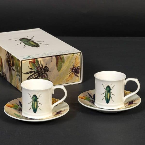 Zestaw 2 filiżanek z podstawką Curious Green Beetle