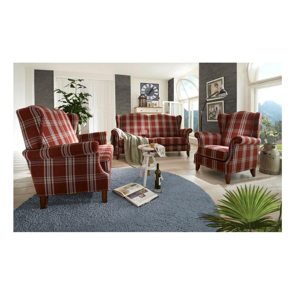 Czerwony fotel w kratę Max Winzer Verita