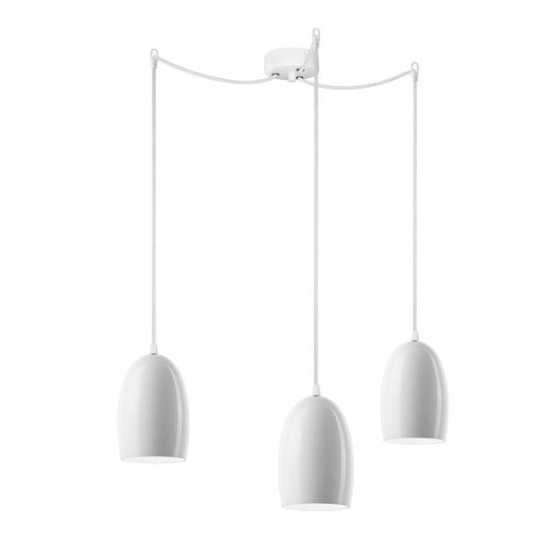 Lampa potrójna UME Elementary, mleczna błyszcząca/biała/biała