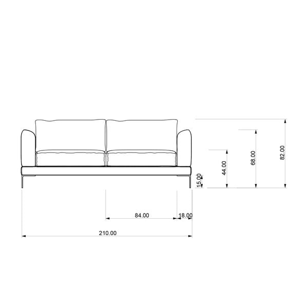 Sofa trzyosobowa Miura Munich, pokrycie szare, zamszowe
