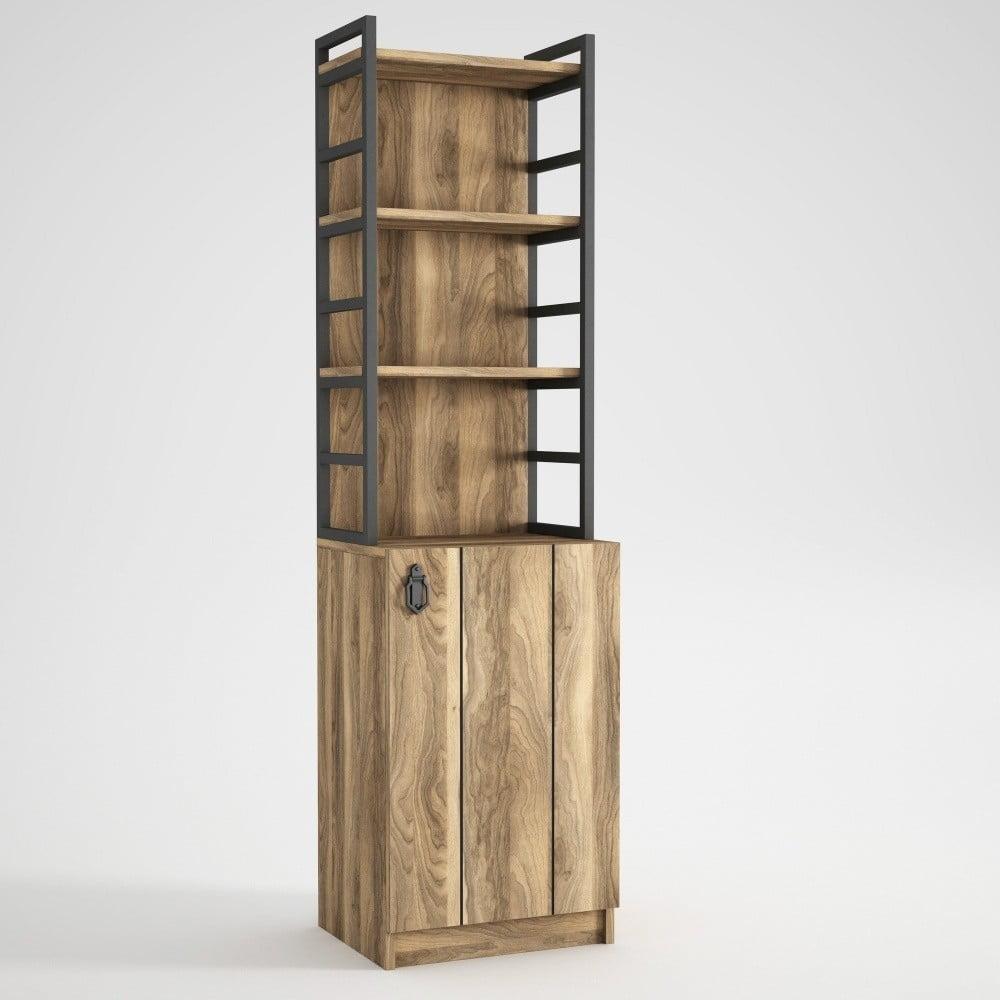 Regał z szafką w dekorze drewna orzecha Lost