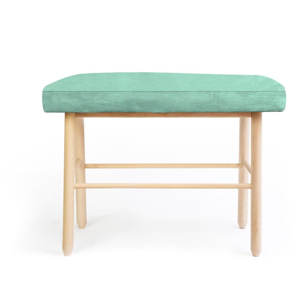 Stołek z drewna sosnowego z zielonym aksamitnym obiciem Velvet Atelier