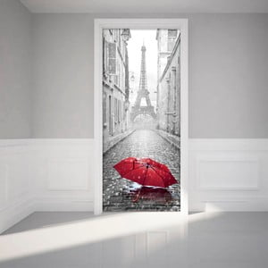 Naklejka na drzwi Ambiance Eifel Tower And Umbrella
