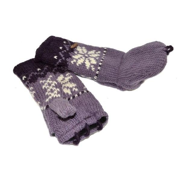 Rękawiczki z klapką Violet Snowflake