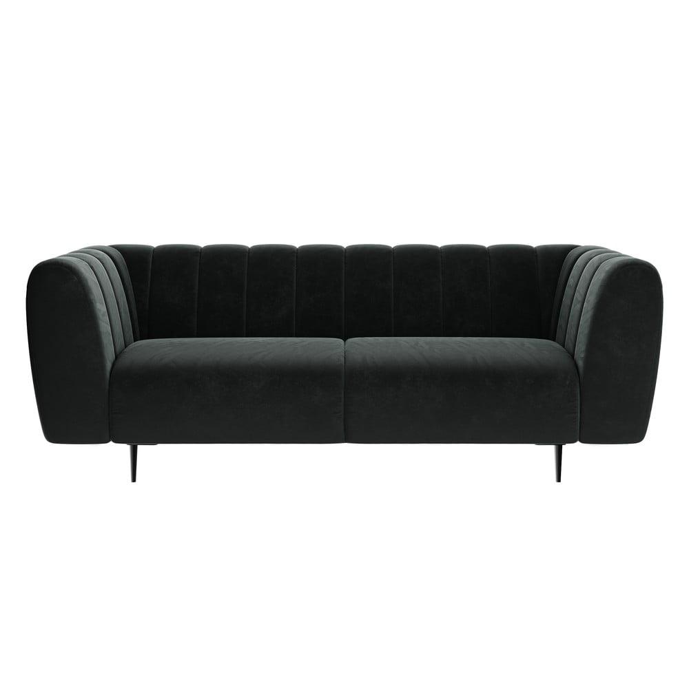 Ciemnoszara sofa z aksamitnym obiciem Ghado Shel, 210 cm