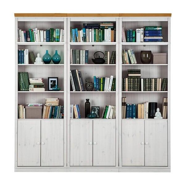 Biała biblioteczka z brązowymi elementami z litego drewna sosnowego Støraa Annabelle, szerokość219cm