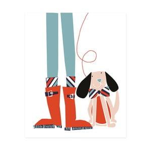 Dekoracyjny obrazek Caroline Gardner Dog Wellies, 21x26 cm
