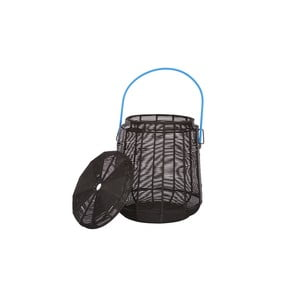Stołek ze schowkiem Sit Stool, czarny z niebieską rączką