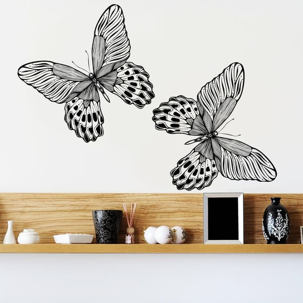 Naklejka dekoracyjna na ścianę Dwa czarne motyle